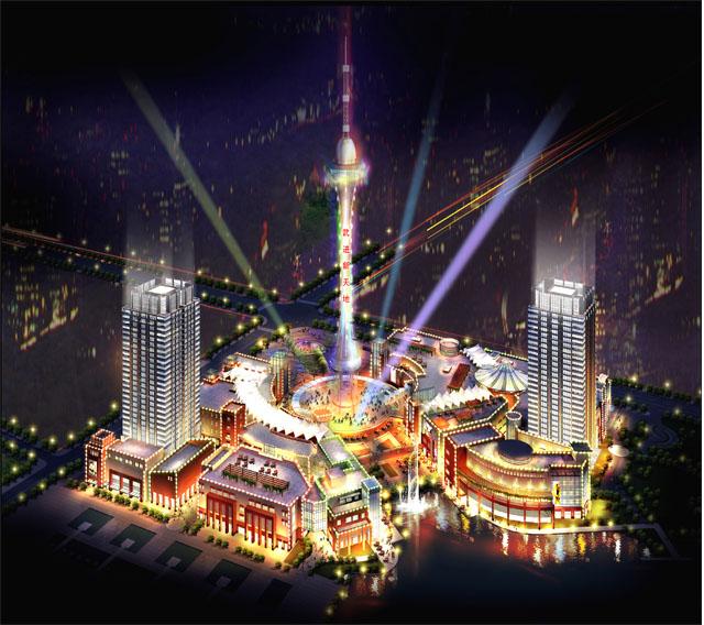 源:228米的电视塔矗立项目正中央