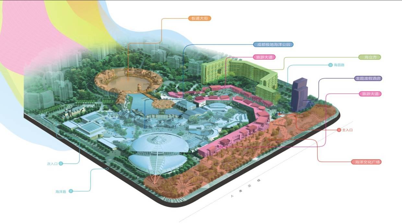 成都极地海洋世界是省市县三级招商引资重点项目,选址成都市天府大道南延线南端,融合极地海洋公园与高端商业为一体,特邀国际大师操刀规划,美国迪斯尼乐园设计大师丹尼尔担纲主创、日本海洋乐园顶级设计公司ELK、香港泛亚主理设计,是国内规模最大、海洋生物最齐全、体系最全、设施最先进的海洋公园,也是中国西南地区唯一集旅游、休闲、餐饮、娱乐、购物、居住等多种功能于一体的大型开放式海洋主题商业乐园。 极地海洋公园为成都极地海洋世界的核心支撑版块,是西南唯一体验极地海洋风情的消费感受地,建成后预计年旅客接待量将达到400万